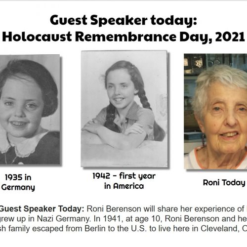 Photos of Roni Berenson as a child in 1941 and today