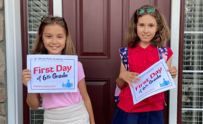 olivia and sophia panciu on their first day of sixth grade at menlo